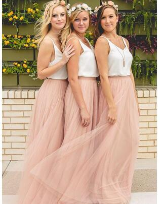 2018 Hot Cheap Bridesmaid Dresses Tulle Skirt Blush Prom Dresses/Bridesmaid Maxi Skirt Evening Party Gowns