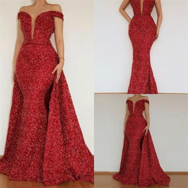 2018 Red Lace Shiny Lantejoulas Sereia Vestido de Noite Fora Do Ombro Dubai Mulheres Celebridade Vestidos De Baile Desgaste Do Aniversário Com Saia Destacável
