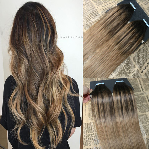 Ombre Color 2 Dark Brown Fading To 6 Balayage Skin Weft Human Hair Extensions Tape In Extensons Slik Straight Tape On Hair 15 Inch Hair Tape Human
