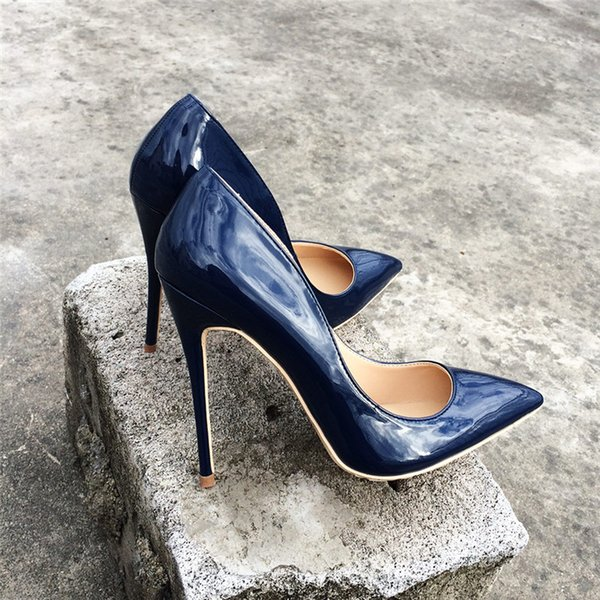 Free Shipping lady women woman 2018 new Navy blue Patent Leather high heels shoes Stiletto Heels Poined Toes Wedding HEELED SHOES pump 12cm