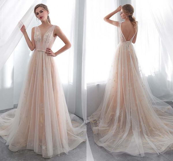 elegant dresses o neck open back see through a line lace long wedding party bride dresses women wedding gowns hy4189, White