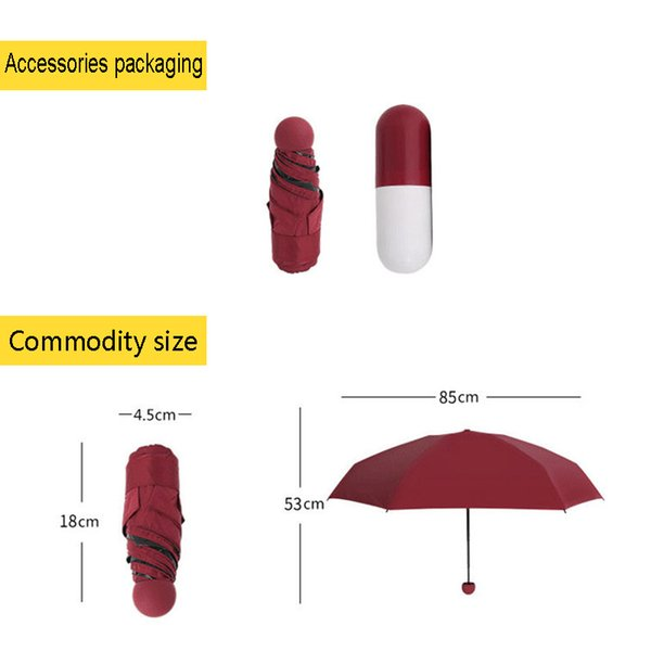 Outdoor Play Sports Capsule Mini umbrella sunny and rainy windproof sun protection lightweight folding umbrella Non-automat Gift Toy Tents