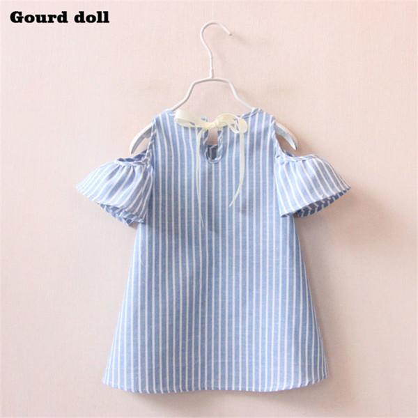 Compre 2 6T Azul Blanco A Rayas Vestido De Niña Vestido De