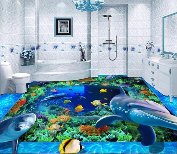 Custom Photo self-adhesive 3D floor Waterproof floor mural painting 3d wallpapers marble 3D PVC floor wallpaper