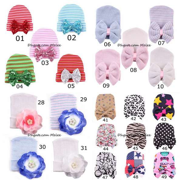 best selling 60Colors INS Newborn Baby Crochet Bow Hats Cute Baby Girls Leopard Soft Knitting Hedging Caps Big Bows Autumn Winter Warm Tire Cotton Cap