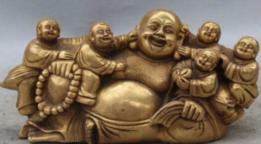 "WBY912+++10""Marked Chinese Bronze Brass Five Kids kId Happy Laugh Buddha Hold Bead Statue"