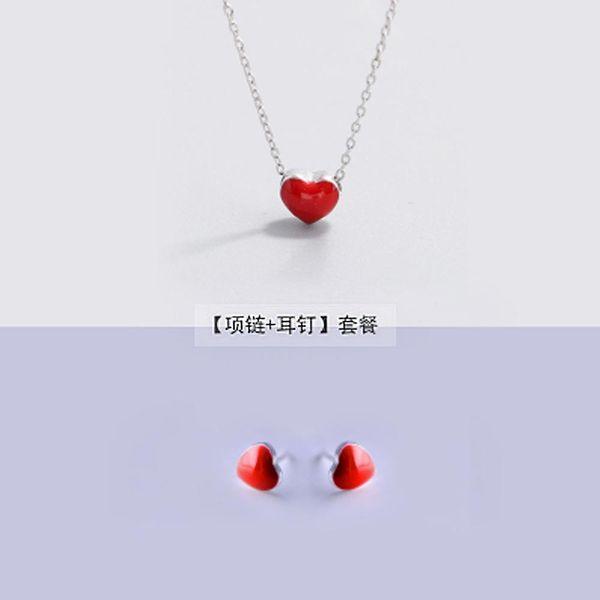 Orecchini in argento 925 + collana per le donne Insiemi dei monili di modo Carino piccolo rosso smalto cuore orecchini con perno per le ragazze bambini regalo signora