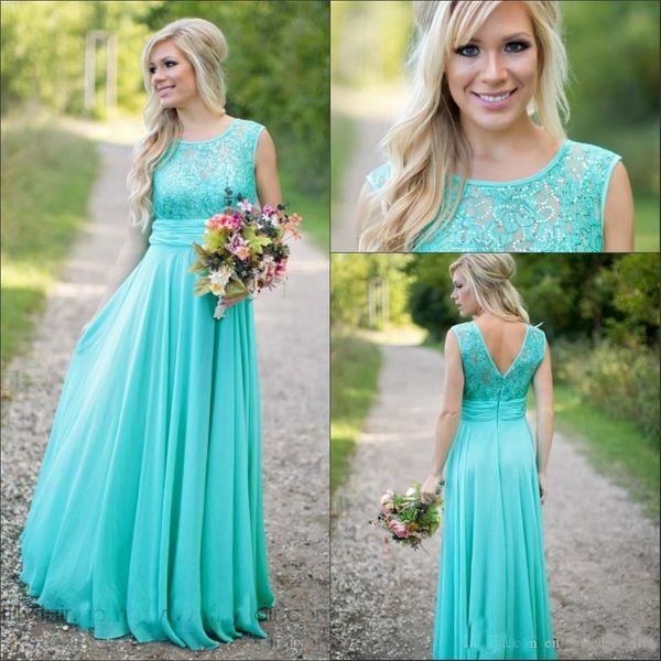 2019 Nuevos vestidos de dama de honor de color turquesa verde azulado Scoop Chiffon Beaded Lace V Vestidos de dama de honor largos sin espalda Robe de soiree Cheap Custom Made