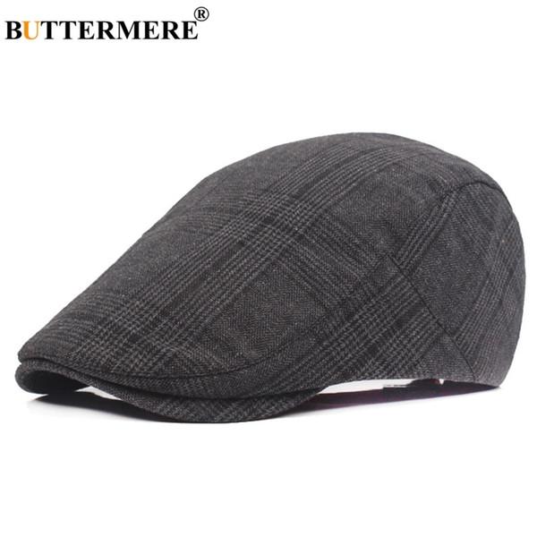 BUTTERMERE Cotton Beret Cap For Men Checkered Black Ivy Flat Caps Women British Tartan Duckbill Hat Autumn Vintage Painters Hat