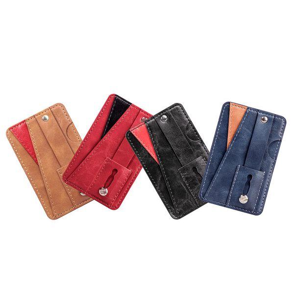 Slot per scheda di memoria posteriore per iPhone 3M Sticker Stick in pelle per credito con ID di cassa per iPhone XR XS MAX Note 9 Gripper Strap Grip Finger