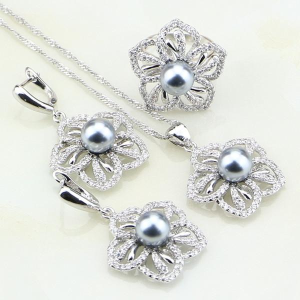 Çiçek Beyaz Kübik Zirkonya Gri İmitasyon İnci Kadınlar Için 925 Ayar Gümüş Takı Seti Hediye Küpe / Yüzük / Kolye / Kolye
