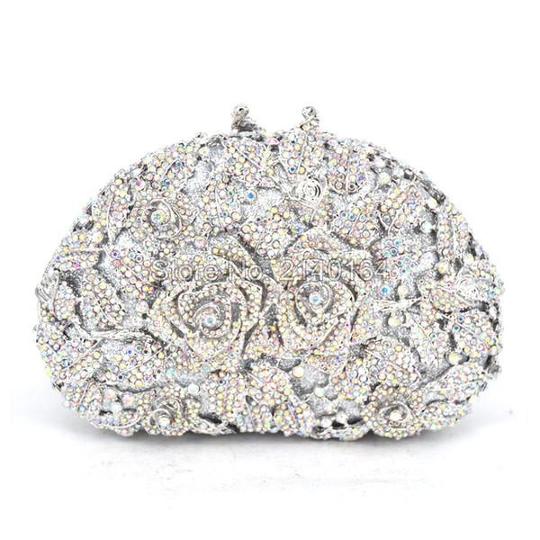 silver Rose Flower Evening Bag Crystal Party Handbag Fashion Women Clutches Wedding Night Bag (88303-E)