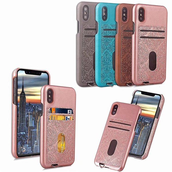 Fashion PU Leather Phone Case Luxury Printing Plain Color Simple Style Back Cover For iPhone X With 2 Card Slot Opp Bag Soundmae