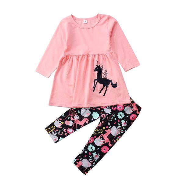 Unicornio Kids Baby Girls Outfits Ropa Pink T-shirt Tops Vestido largo Pantalones 2PCS Set Flor Long Sleeve Kid Conjunto de ropa