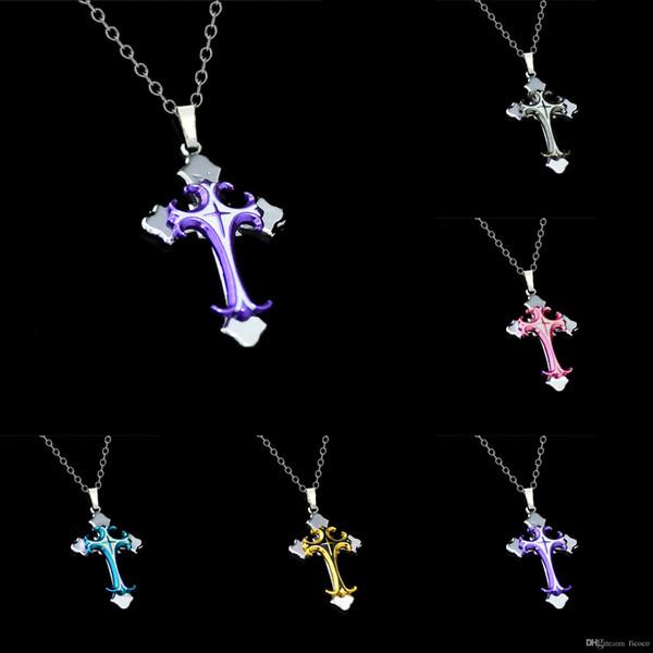 5 Farben Antique Double Cross Anhänger Halsketten Familial Zuneigung Halsreifen Schmuck
