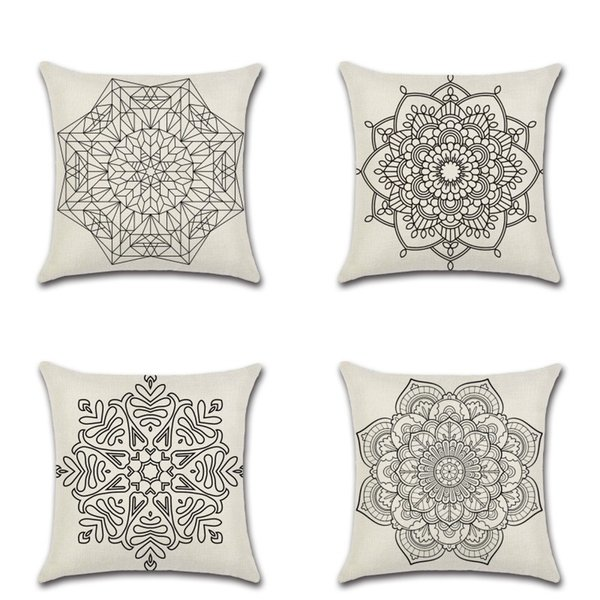 Mandala Bohemia Pillows Covers Flax Cushion Cover Soft Vintage Style Pillow Case For Bedroom Sofa Decoration 4 8kh C RZ
