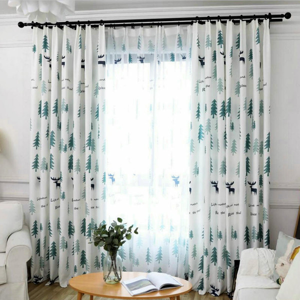best selling Nordic Pattern Cartoon Christmas Tree Printed Blackout Curtain for Living Room BedRoom Office Decorative Drapes Cortinas