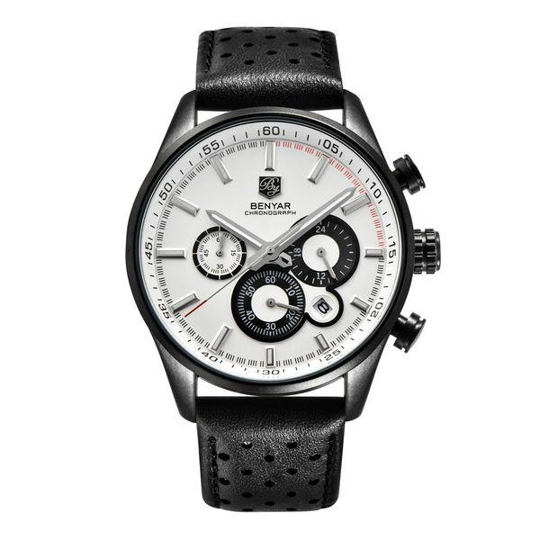 BENYAR Brand Business Genuine Leather Band Watches Men Military Chronograph Quartz Sport Wrist Watch Male Relogio Masculino BY-5108M