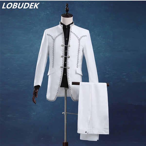 white wedding groom suit male commercial suits casual slim costume male set formal dress for singer dancer party show bar