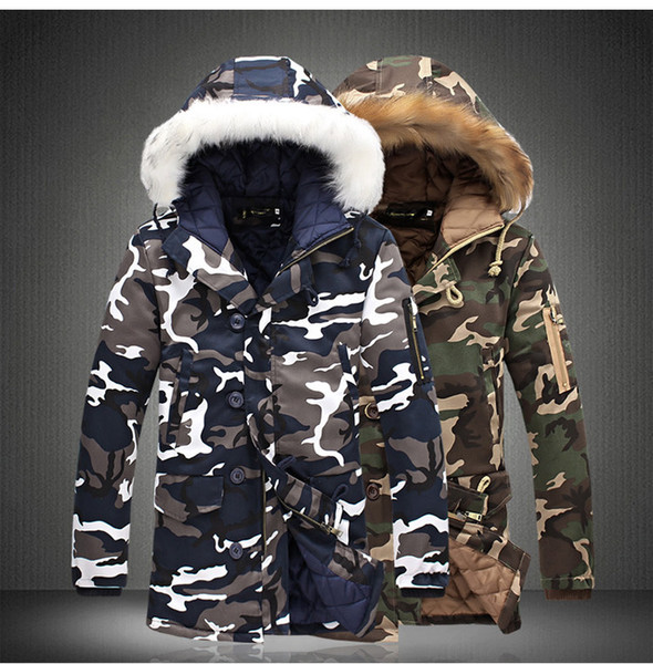 Mens Winter Fashion Camouflage Coats Faux Fur Hooded Warm Jacket Blue Army Green Zipper Coats Free Shipping
