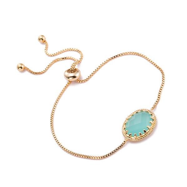 Ellipse Sapphire Lady Chain Bracelets Glass Crystal Fashion Box Chain Bangle Fashion Jewelry Best Gifts For Women DC152