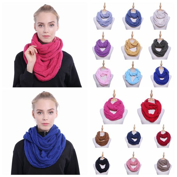 best selling 17 Colors Knitted Scarf Circle Loop Scarf Lady Wrap Scarves Thick Warmer Neck Scarf Crochet Scarves 70*35cm CCA10631 30pcs