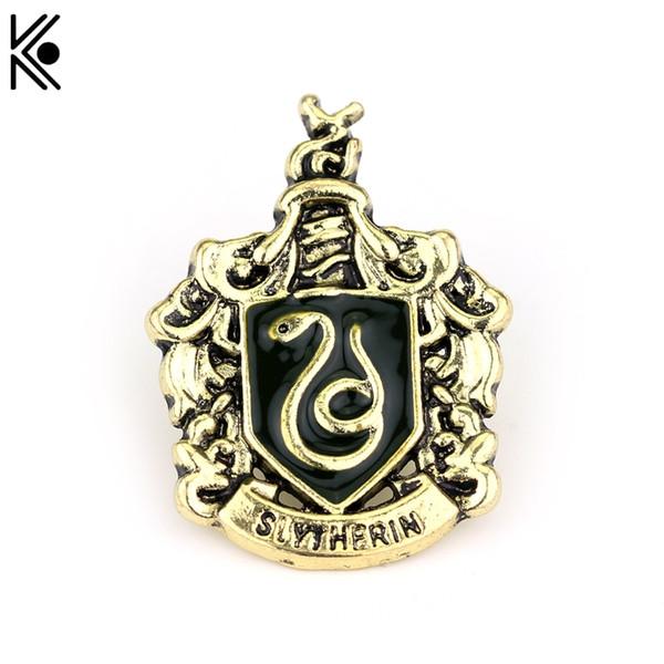 Slytherin Abzeichen Brosche Hogwarts Magie Schule High Quality Snake Logo in den Schal Broschen Emaille Pin Fan Geschenk gefangen