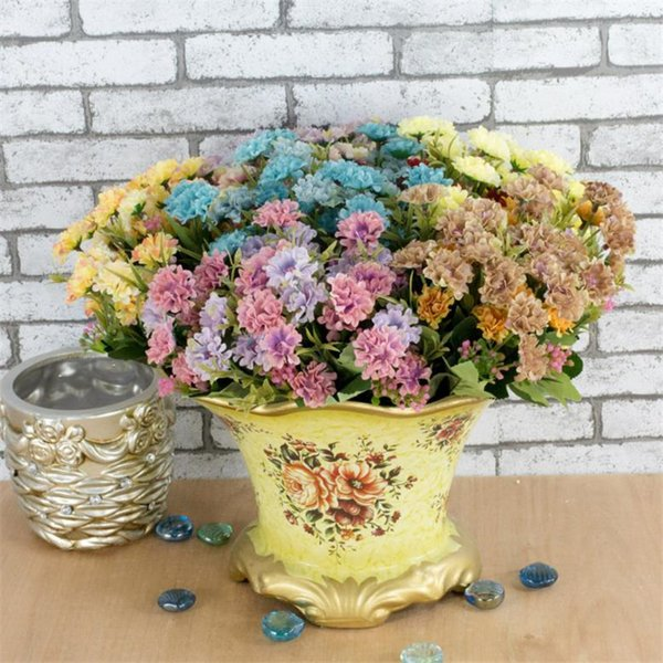 Fake Oil Painting Compositae Bunch (6 stems/piece) Simulation Autumn Chrysanthemum for Wedding Home Showcase Decorative Artificial Flowers