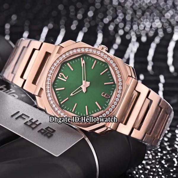 New Octo Solotempo 102104 Green Dial Swiss Quartz Womens Watch Diamond Bezel Rose Gold Case Steel Bracelet Sapphire Fashion Lady Watches