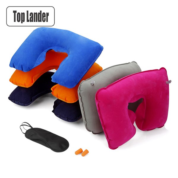 3 In 1 Inflatable Cervical Pillow Outdoor Inflatable Travel Air Pillow Sex U Shape Neck Pillow Business Earplugs Eyeshade