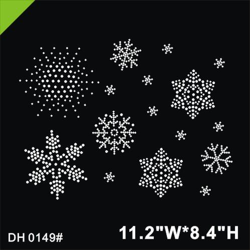 Free shipping Hot Fix Rhinestone Iron On Heat Transfer glitter snowflakes iron on transfer DIY DH0149#