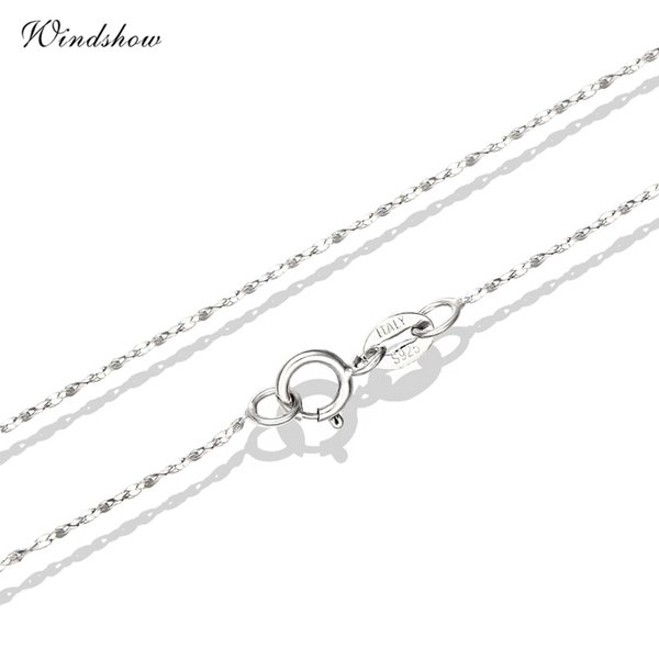 Real 925 Sterling Silver Slim Water Wave Chain Necklaces for Pendants Charms Jewelry For Womens Girls Jewelry Gift bijoux femme