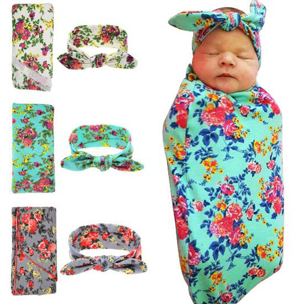 New Infant Baby Swaddle Sleeping Bags Boys Girls Wrapped Blanket Rabbit Ears Headband Soft Cotton Cocoon Sleep Sack Two Pieces Set
