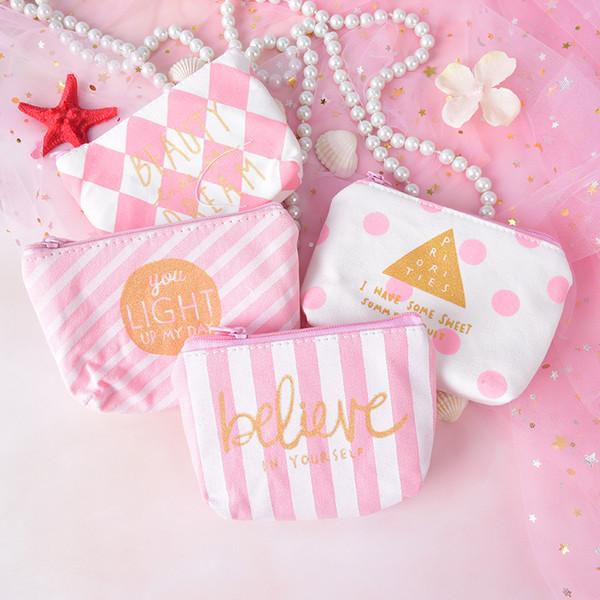 1PC Canvas Pink Cosmetic Bag Women Sweet Zipper Purse Makeup Bag Beauty Pouch Organizer Portable Student