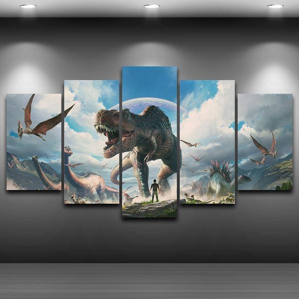 Peinture Sur Toile Décor À La Maison Mur Art Cadre 5 Pièces De Dinosaures Photos Pour Le Salon HD Prints Affiche Animale