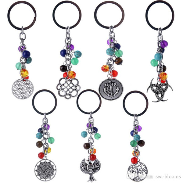Free DHL 11 Styles Fashion Gemstone Beaded Tree of Life Pendant Yoga Natural Stone Beads Keychain Jewelry 7 Chakras Car Key Ring Gift D246SF