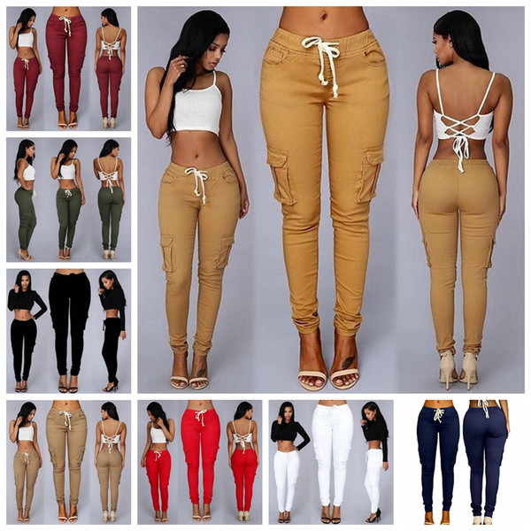 best selling Spot 2020 European explosion models solid color pocket button casual street stretch pants, support mixed batch