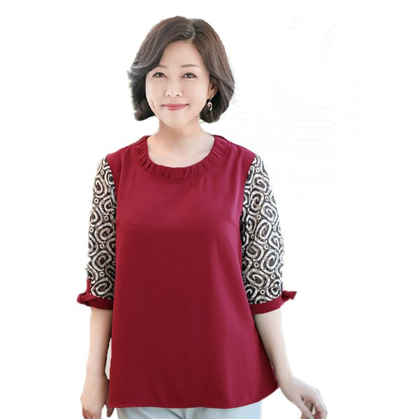 2018 Spring New Middle-aged Women Plus Size Clothing Loose Mother Solid Red Chiffon + Lace Shirt Seven Sleeves Mom Tops 5xl 6xl