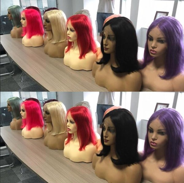 Short Bob Wig Pink Full Lace Wigs Brazilian Virgin Remy Real Human Hair Red Hair Wig Lace Front Long Bob Wig for Woman