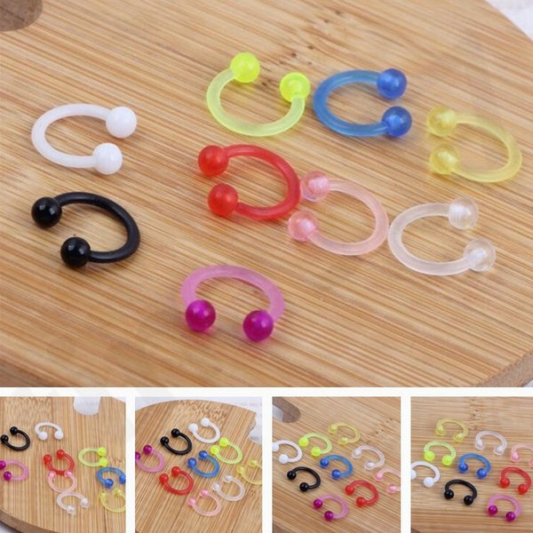 Europe and America Fashion Nose Ring UV Acrylic CBR Ring False Nasal Ring C Nose Stud Puncture Ornaments T7C78