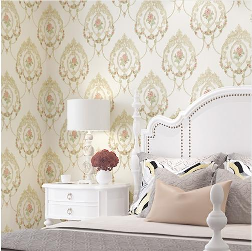Sweet Mirror Flower Wedding Room Wallpaper Living Room Bedroom 3D Embossed Wall Papers Pink Blue White Wallpapers Roll