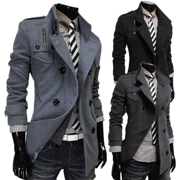 Woolen cloth dust coat winter fashion popular new double-breasted design long woolen cloth dust coat of cultivate one's morality
