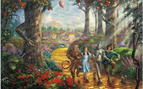 Suivez le chemin de la brique jaune Le magicien d'Oz Affiche de tissu de décoration murale de salon de salon Peinture Alice au pays des merveilles