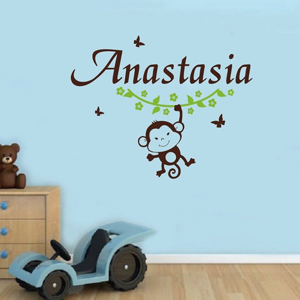 DIY Monkey Flower Butterfly With Custom Kids Name Wall Decals , Personalized Name Vinyl Wall Stickers Baby Nursery Art Decor