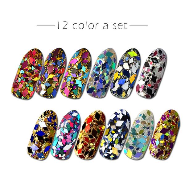 1 Case Mini Sequins Flakes Rhombus Shape Tips Set Mix Color Paillette DIY 3d Nail Art Decoration Glitter