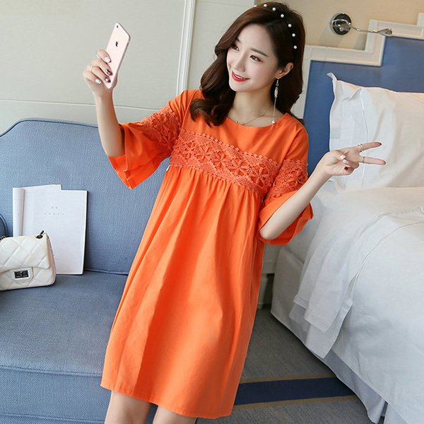 Women Maternity Dress Pregnant Clothes 2018 New Maternal dress for Summer Cotton and Ramie Maternity Clothes