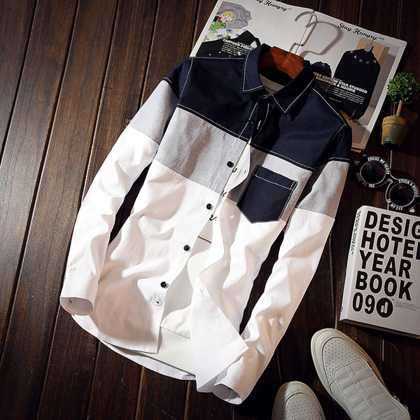 Plus size 5xl 2017 uomini coreani plaid shirt design tascabile Camicie maschili manica lunga slim fit elegante casual camisa masculina MQ558