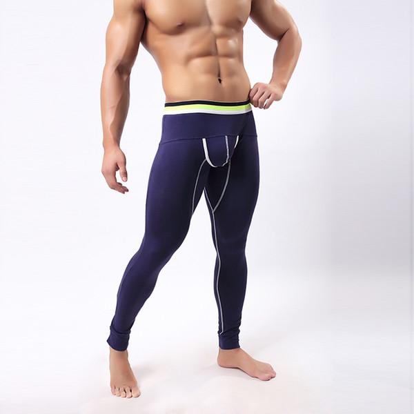 Long John Pants 2017 Autumn Winter Warm Cotton Thermal Underwear Mens Leggings Pouch Fashion Warm Sleepwear Tight Trousers