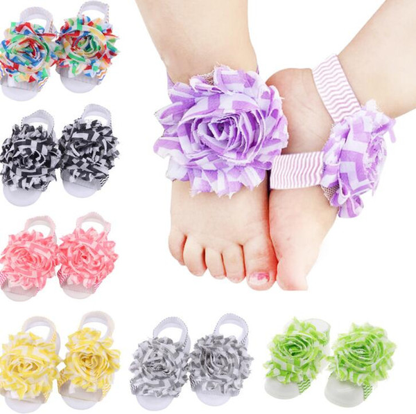 Baby Sandals Flower Shoes Cover Barefoot Foot Wave Flower Ties Infant Girl Kids First Walker Shoes Photography Props 13 Colors A139