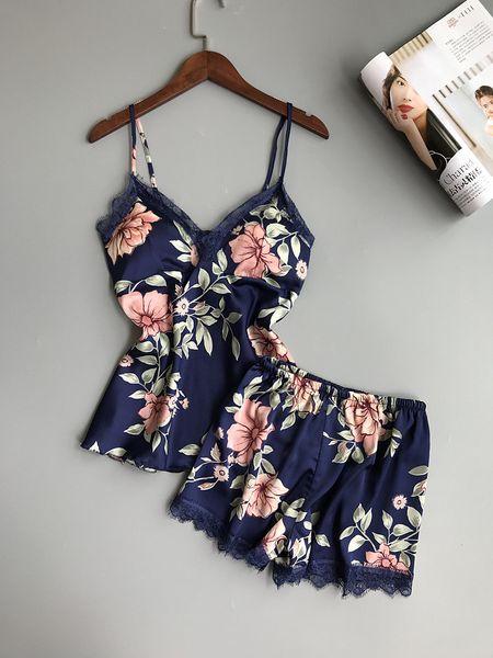 Women Sleepwear Lounge Pajama Sets Sexy Satin Nightwear Women Summer Pyjama Female Flower Pajamas For With Chest Pad